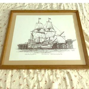 Framed  Vintage CM Goff  Drawings Mayflower II